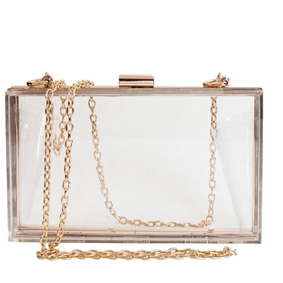 Handbags - Clear acrylic box clutch with chain